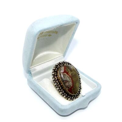Ezüst Csipkeachát gyűrű - Egyedi darab!
