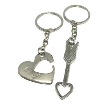 Páros kulcstartó – szív és nyíl