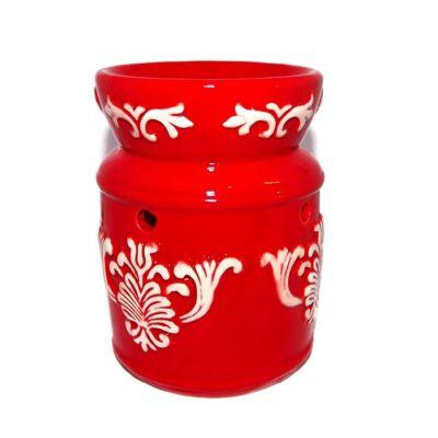 Barokk motívumos párologtató edény – piros