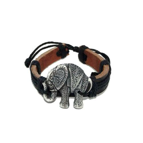 Bőr karkötő elefánttal