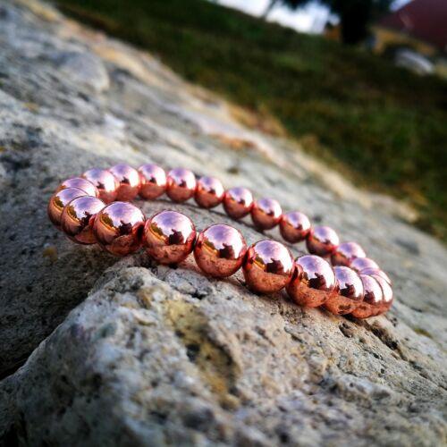 Pink hematit karkötő 8 mm