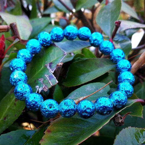 Lávakő sötét kék karkötő 8 mm, festett