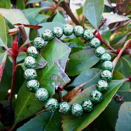 Lávakő zöld karkötő 8 mm, festett
