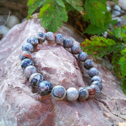 Ezüst-kék szivárvány jáspis karkötő 8 mm