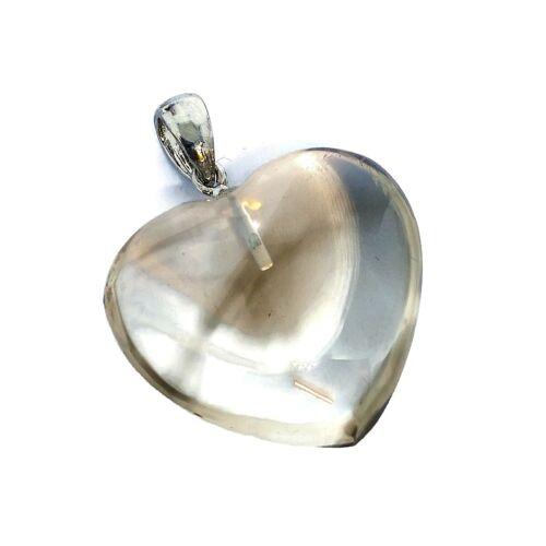 Füstkvarc domború szív medál - halvány füstkvarc - 1. osztályú