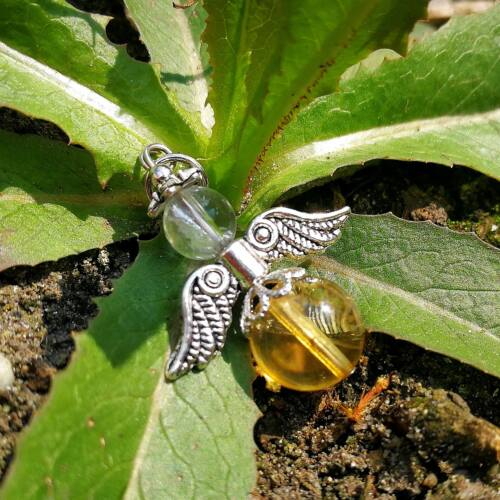 Golyós angyal medál, citrin