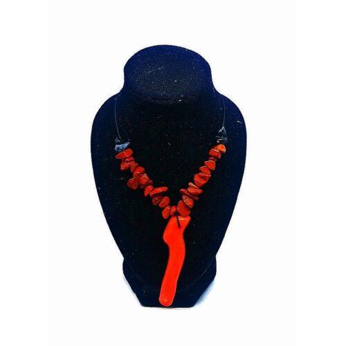 Korall medálos, vörös jáspis nyaklánc