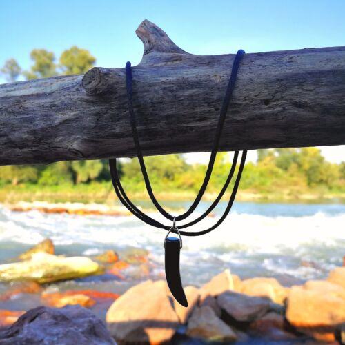 Fekete achát medálos nyaklánc - Sárkányfog