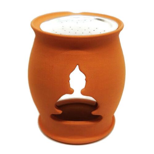 Buddha motívumos rácsos égető és párologtató edény, natúr kerámia, gömb forma