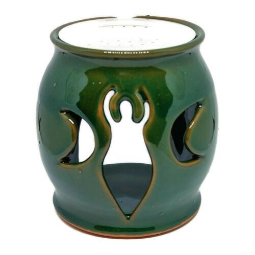 Földanya motívumos rácsos égető és párologtató edény, zöld kerámia, gömb forma