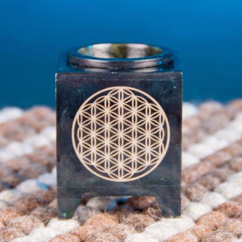 Élet virága mintás párologtató edény / aroma lámpa - fekete zsírkő