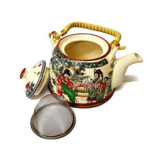 Kínai fémszűrős teáskanna - Kerti dallamok - nagy