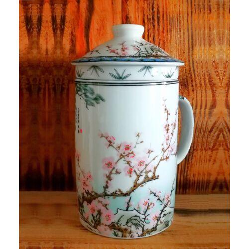 Kínai teaszűrős bögre - Cseresznyevirág