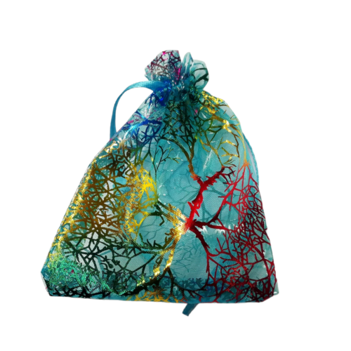 Organza - Türkiz, szivárványszínű életfa mintás