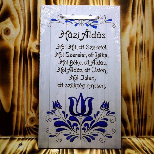 Házi áldás tábla - Kék - fehér