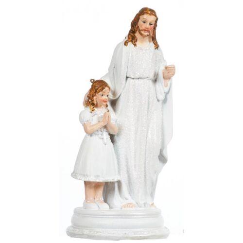 Imádkozó lány Jézussal szobor