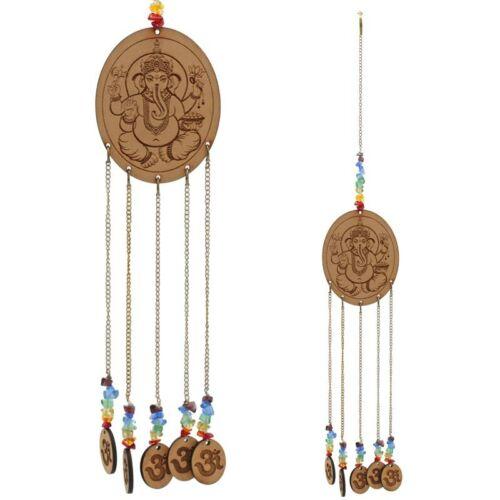 Ganésa és Om szimbólumos csakra függő, kristályokkal